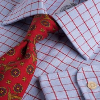 Cordings Blue Red Check Oxford Shirt  Main Image