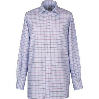 Cordings Blue Red Check Oxford Shirt  Different Angle 1