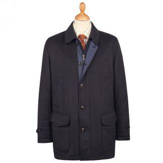 Cordings Navy Harold Wool & Cashmere Waterproof Coat Main Image