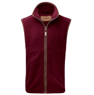 Cordings Schoffel Claret Oakham Fleece Gilet Different Angle 1