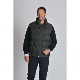 Cordings Dark Olive Schoffel Richmond Down Gilet Different Angle 1