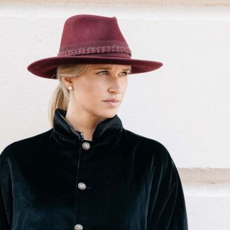 Cordings Wine Fedora with Contrast Ribbon Different Angle 1