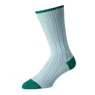 Cordings Blue Green Cotton Heel & Toe Socks Main Image