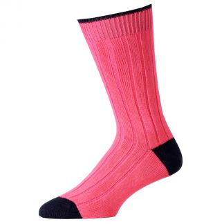 Cordings Pink Navy Cotton Heel & Toe Socks Main Image