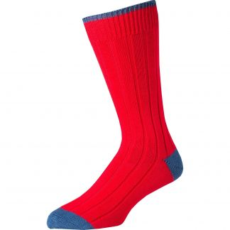 Cordings Red Blue Cotton Heel & Toe Socks Main Image