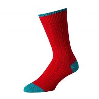 Cordings Red Teal Cotton Heel & Toe Socks Main Image