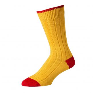 Cordings Yellow Red Cotton Heel & Toe Socks Main Image