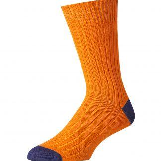 Cordings Orange and Blue Cotton Heel & Toe Socks Main Image