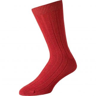 Cordings Red Cashmere Ribbed Sock Main Image