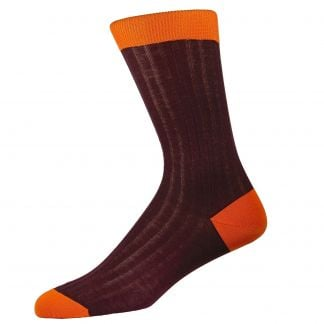 Cordings Wine Orange Cotton Lisle Kew Sock Main Image