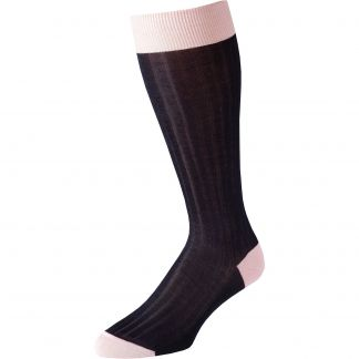 Cordings Navy Pink Long Kew Cotton Sock Main Image