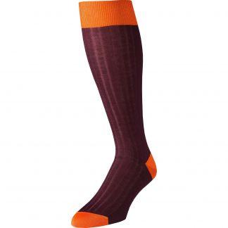 Cordings Wine Long Kew Cotton Sock Main Image