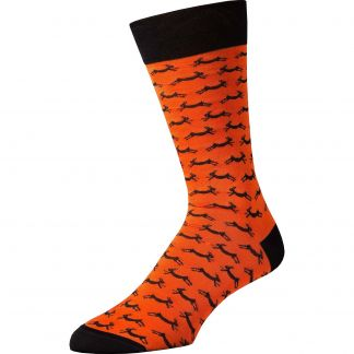 Cordings Orange Hare Heel and Toe Sock Different Angle 1