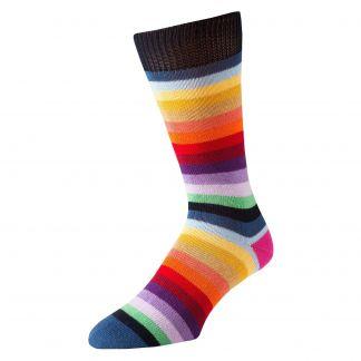 Cordings Blue First XV Stripe Cotton Sock Main Image