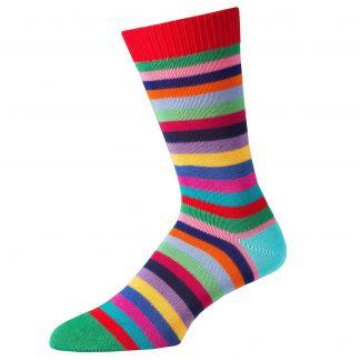 Cordings Green First XV Stripe Cotton Sock Main Image
