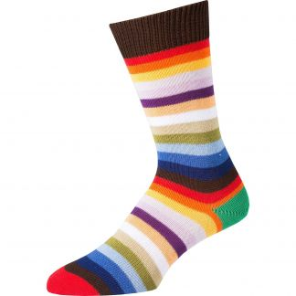 Cordings Red First XV Stripe Cotton Sock Main Image