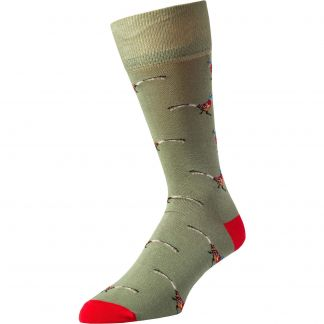 Cordings Olive Wild Pheasant Fine Sock Different Angle 1