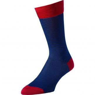 Cordings Blue Brighton Stripe Cotton Sock Main Image