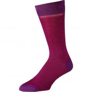 Cordings Pink Brighton Stripe Cotton Sock Main Image