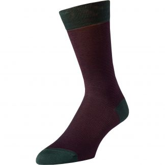 Cordings Red Brighton Stripe Cotton Sock Main Image