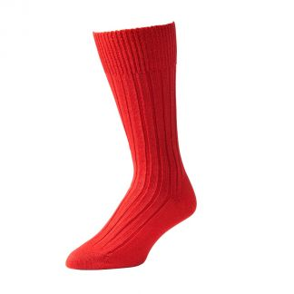Cordings Red Merino Mid Calf Country Sock Main Image