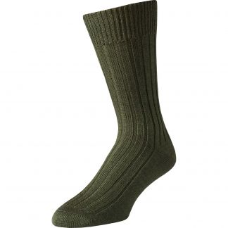 Cordings Green Merino Mid Calf Country Sock Main Image