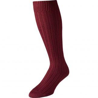Cordings Burgundy Merino Long Country Sock Main Image