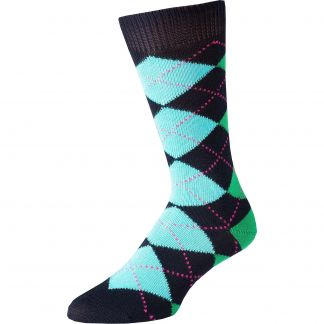 Cordings Navy Angus Argyle Sock Different Angle 1