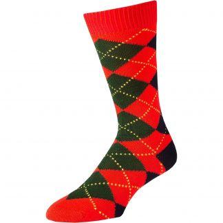 Cordings Red Angus Argyle Sock Main Image