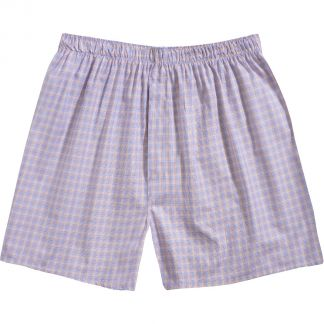 Cordings Yellow and Blue Checked Cotton Boxer Shorts Main Image