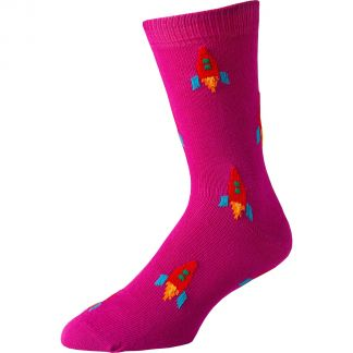 Cordings Pink Moon Rocket Cotton Socks Different Angle 1