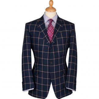 Cordings Navy Cavendish Check Linen Jacket Main Image