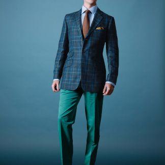 Cordings Blue Pelham Check Linen Jacket Different Angle 1