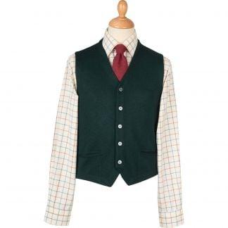 Cordings Bottle Green Merino Waistcoat  Main Image