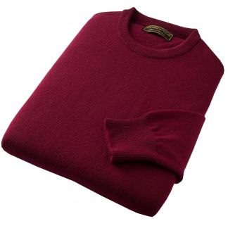 Cordings Bordeaux Lambswool Crewneck  Jumper Different Angle 1
