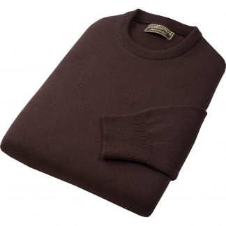 Cordings Brown Lambswool Crewneck Jumper Different Angle 1