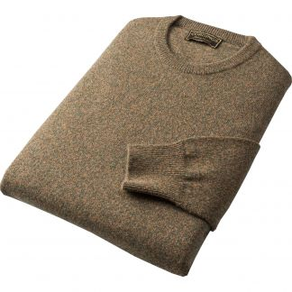 Cordings Green Marl Lambswool Crew Neck Jumper Different Angle 1