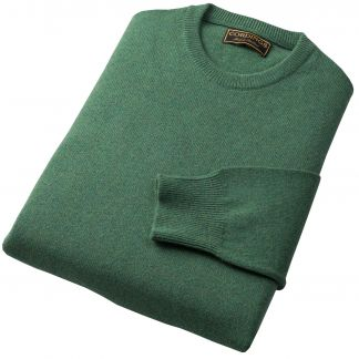 Cordings Green Heather Lambswool Crew Neck Jumper Different Angle 1