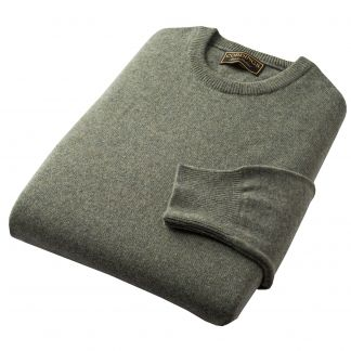 Cordings Moss Green Lambswool Crewneck Jumper Different Angle 1