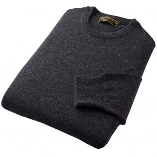 Cordings Charcoal Lambswool Crew Neck Jumper Different Angle 1