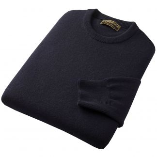 Cordings Navy Blue Lambswool Crewneck Jumper Different Angle 1