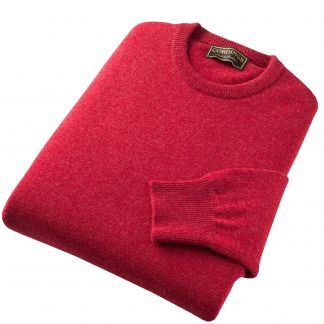Cordings Berry Red Lambswool Crewneck Jumper Different Angle 1