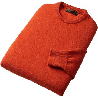 Cordings Rust Lambswool Crew Neck Jumper Different Angle 1
