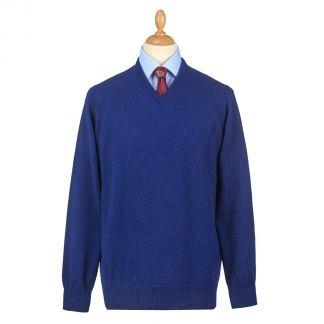 Cordings Indigo Blue Lambswool V-Neck Jumper Main Image