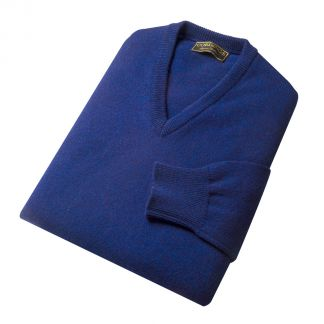 Cordings Indigo Blue Lambswool V-Neck Jumper Different Angle 1