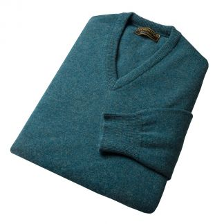 Cordings Hunter Green Lambswool V-Neck Jumper Different Angle 1