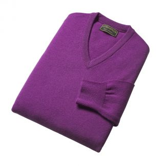 Cordings Bright Lavender Lambswool V-Neck Jumper Different Angle 1