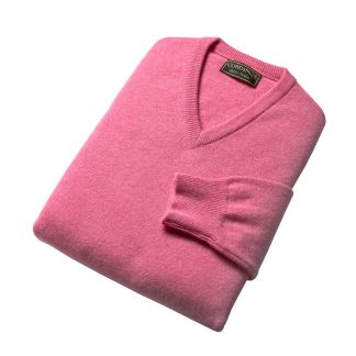Cordings Soft Pink Lambswool V-Neck Jumper Different Angle 1
