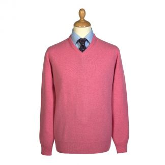 Cordings Soft Pink Lambswool V-Neck Jumper Main Image