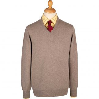 Cordings Fawn Lambswool V-Neck Jumper Main Image